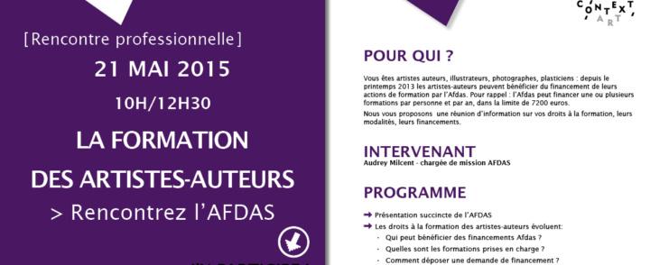 La formation professionnelle des artistes-auteurs – intervention de l'AFDAS – 21 mai 2015