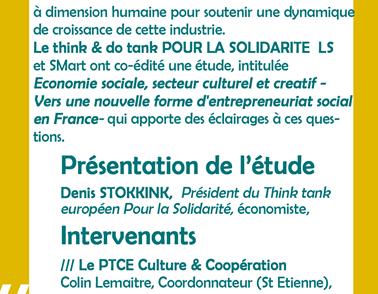 Mois de l'ESS : La culture, secteur économique porteur d'innovation Sociale et créateurs d'emploi> 4novembre matin, Pole Realis, Montpellier