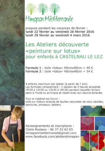 Ateliers découverte : peinture sur lotus – enfants – vacances février