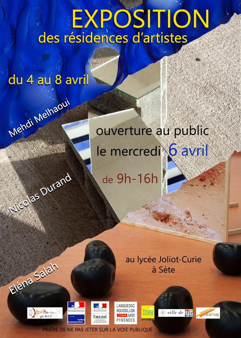Restitution résidence d'artiste – Éléna Salah, Nicolas Durand, Mehdi Melhaoui – 6 avril 2016 – Lycée Joliot Curie – Sète