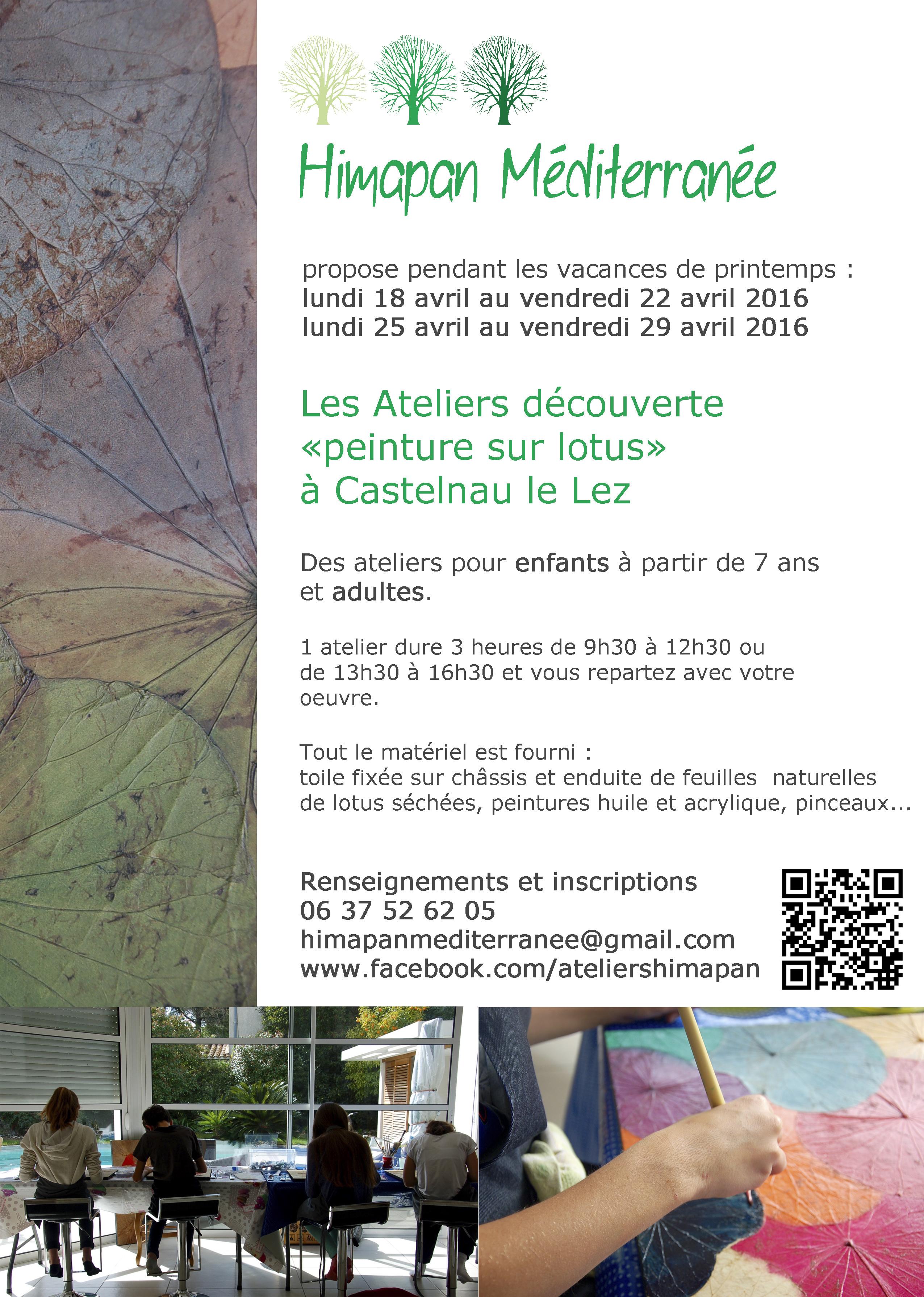 """Atelier découverte """"Peinture sur lotus"""" – Castelnau le lez – 22 et 29 avril 2016"""