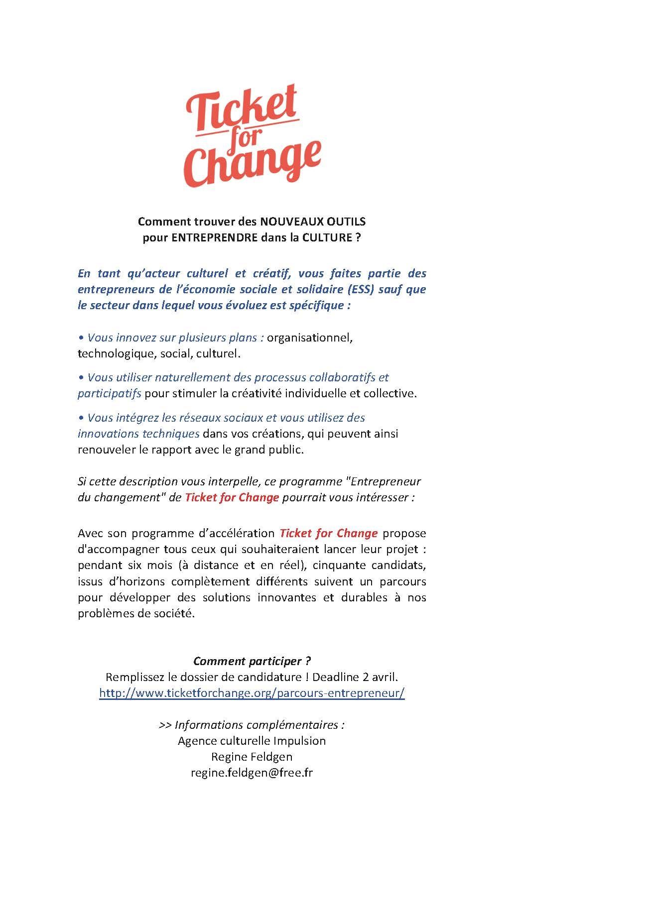 Appel à candidature Ticket for Change – Projets de l'économie sociale et créative !