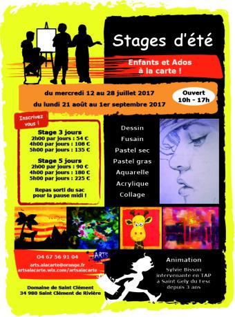 Atelier Arts à la carte organise une seconde période de stage d'été du 21 août au 1er septembre 2017
