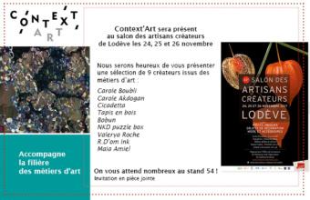 Stand de Context'Art au salon des créateurs de Lodève – 24, 25 et 26 novembre