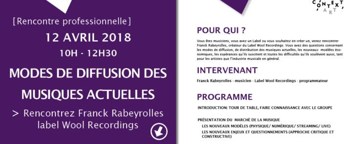 """Rencontre professionnelle """" La diffusion des musiques actuelles"""" – 12 avril 2018"""