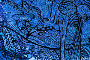 peinture de graine de lune bleue
