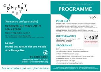 [Rencontre professionnelle] La SAIF, Société des auteurs des arts visuels et de l'image fixe // Vendredi 29 mars 2019, HALLE TROPISME